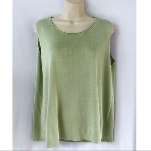 Eileen Fisher Green Silk Blend Shell Tank Top L